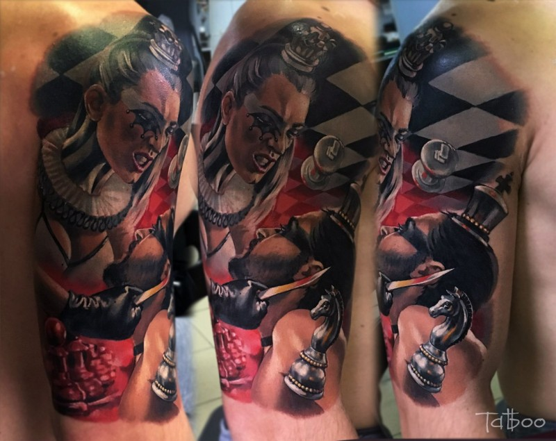 New school style colored shoulder tattoo of chess figures and and human heads