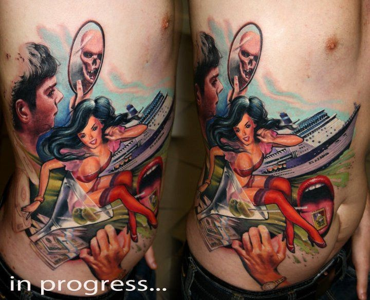New school style colored side tattoo of sexy woman with ship