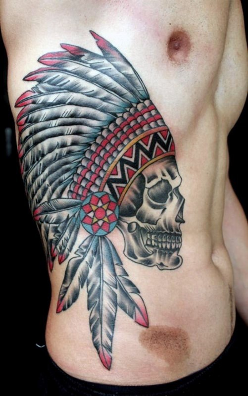 New school style colored side tattoo of Indian skull with feather helmet