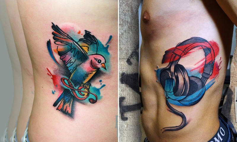 New school style colored side tattoo of bird with headset