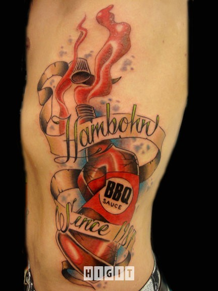 New school style colored side tattoo of sauce bottle with lettering