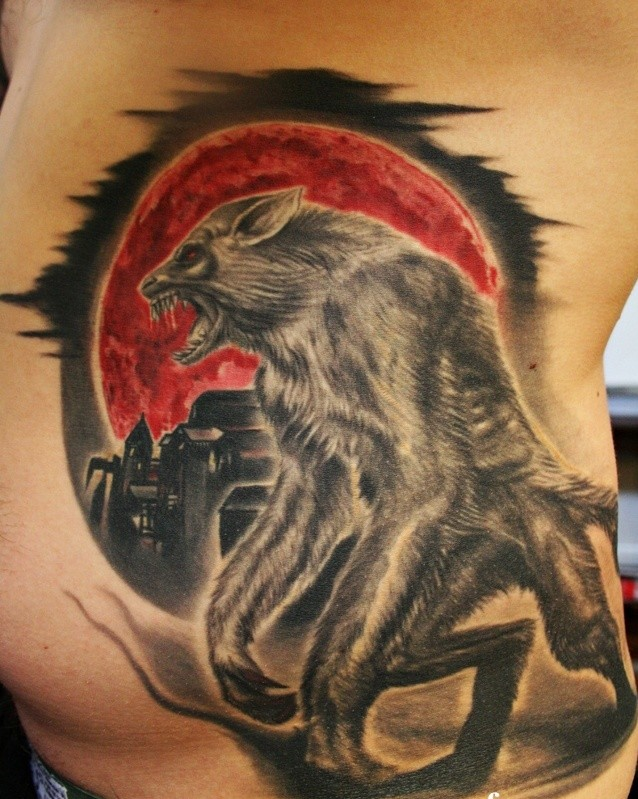 New school style colored side tattoo of werewolf and bloody moon