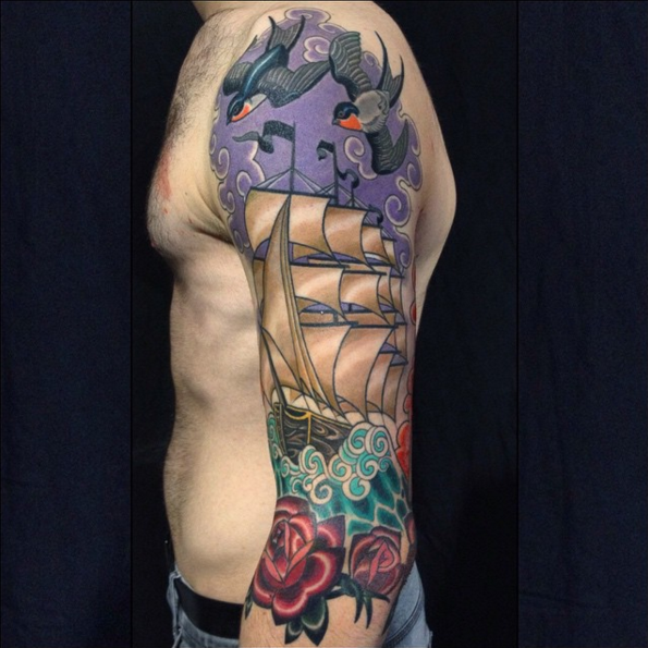 New school style colored sleeve tattoo of sailing ship with roses and birds