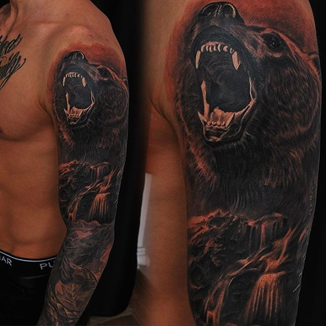 New school style colored sleeve tattoo of roaring bear with waterfall