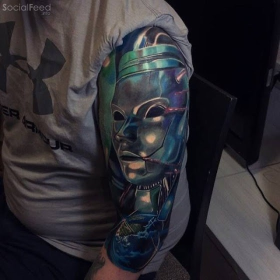 New school style colored sleeve tattoo of iron statue