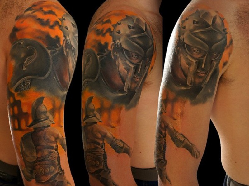 New school style colored sleeve tattoo of ancient gladiators