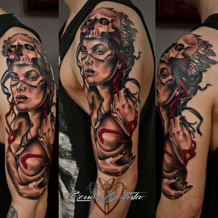 New school style colored sleeve tattoo of creepy woman with skull helmet