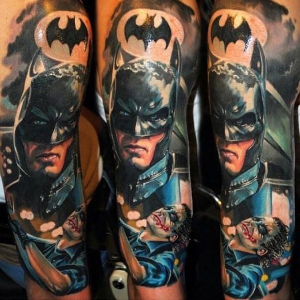 New School Style Colored Sleeve Tattoo Of Batman With Joker