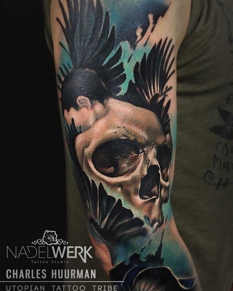 New school style colored sleeve tattoo of woman with human skull