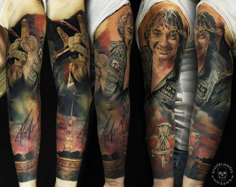 New school style colored sleeve tattoo of famous singer with big house