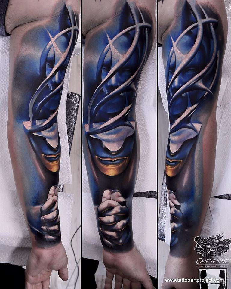 New school style colored sleeve tattoo of mystic looking praying woman