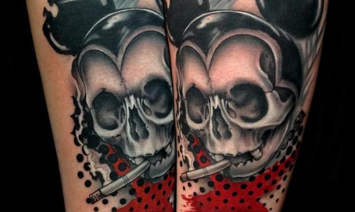 New School Style Colored Smoking Skull Tattoo Tattooimagesbiz