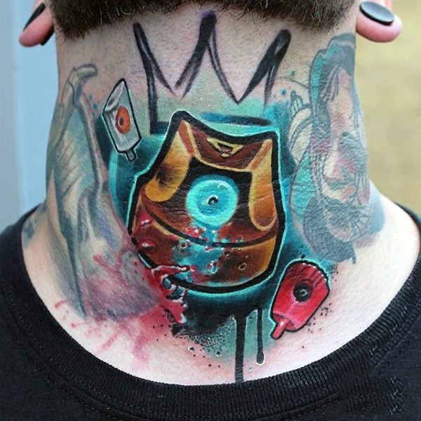 New school style colored spray paint tattoo on neck