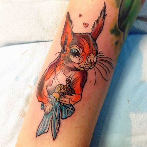 New school style colored squirrel tattoo
