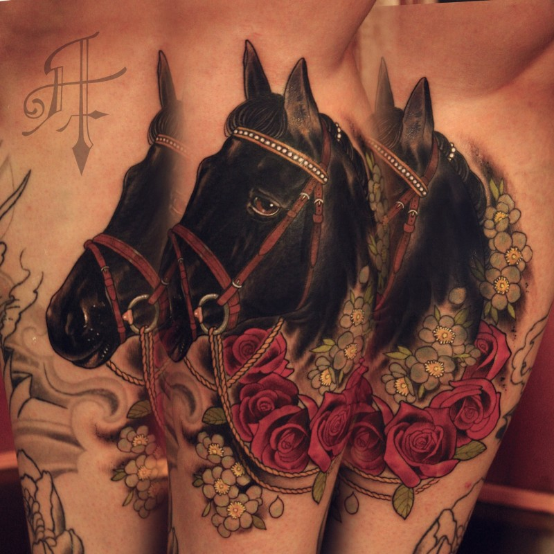 New school style colored tattoo of beautiful horse and lettering