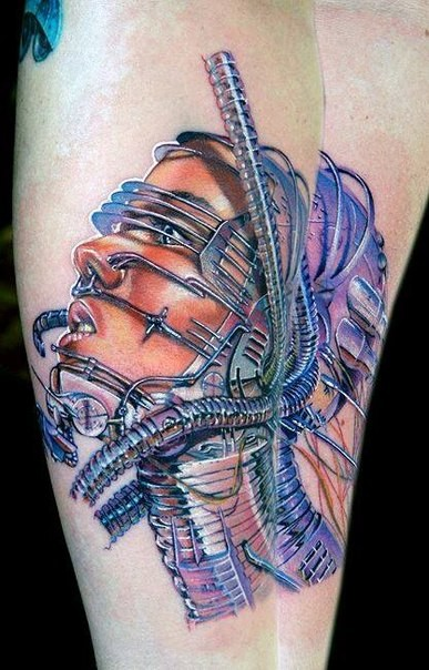 New school style colored tattoo of biomechanical human