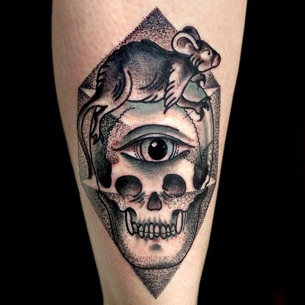 New school style colored tattoo of interesting picture with human skull and eye