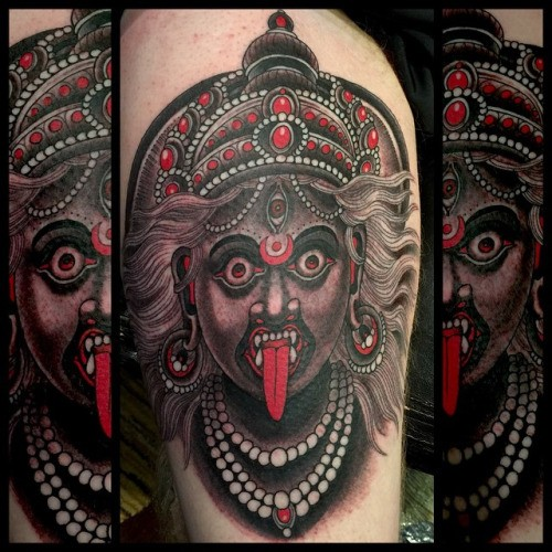 New school style colored tattoo of creepy Hinduism Goddess