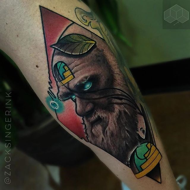 New school style colored tattoo of demonic man with beard