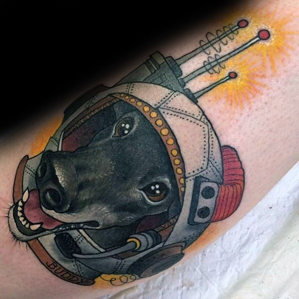New school style colored tattoo of dog in space suit