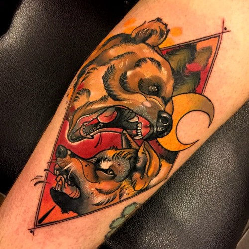 New school style colored tattoo of evil bear with wolf and moon