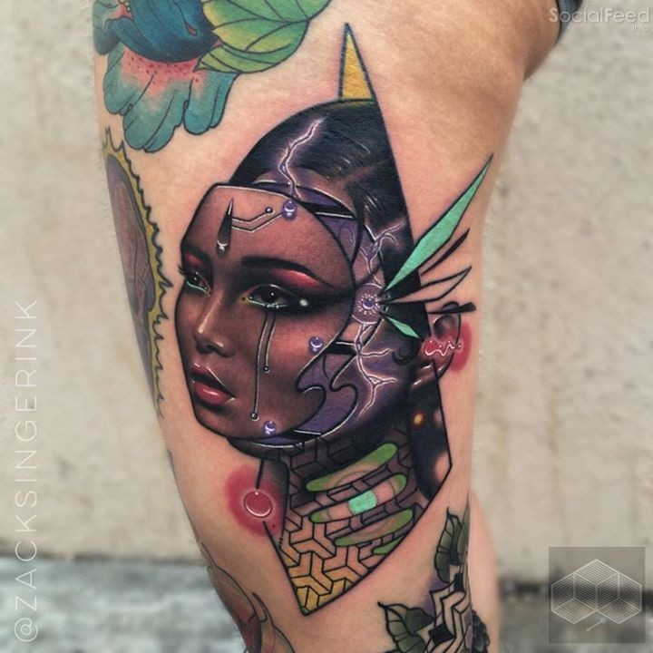 New school style colored tattoo of fantasy robot woman
