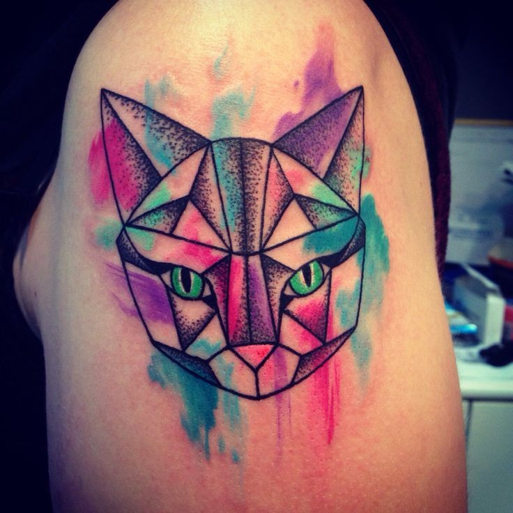 New school style colored tattoo of fantasy cat