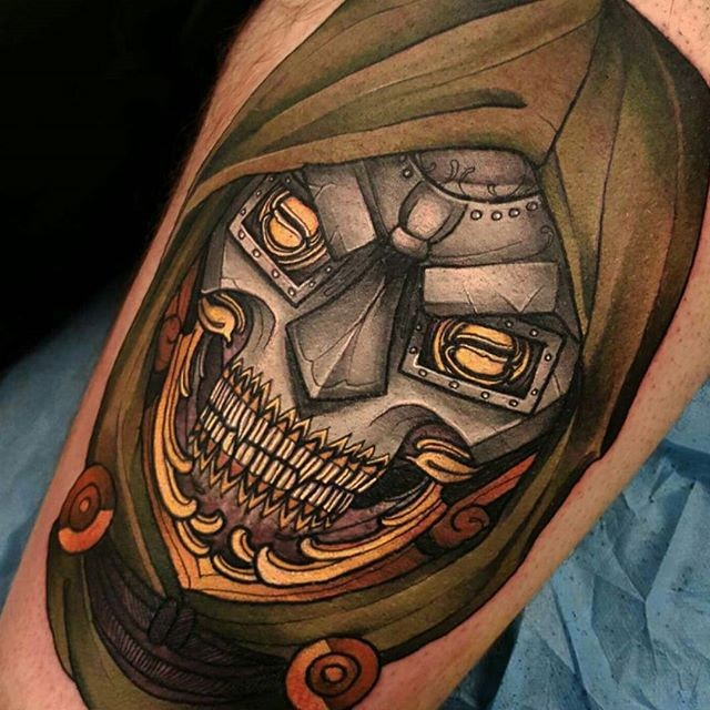 New school style colored tattoo of iron skeleton in hood