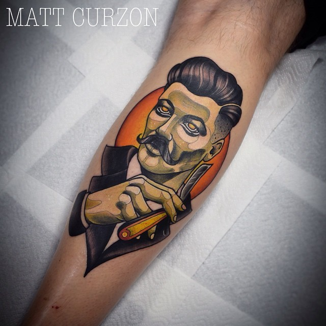 New school style colored tattoo of man portrait with razor blade
