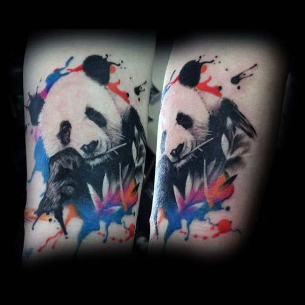 New school style colored tattoo of panda with leaves