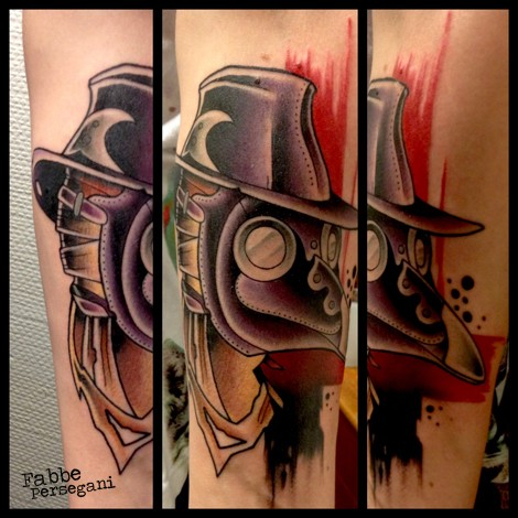 New school style colored tattoo of plague doctor on arm