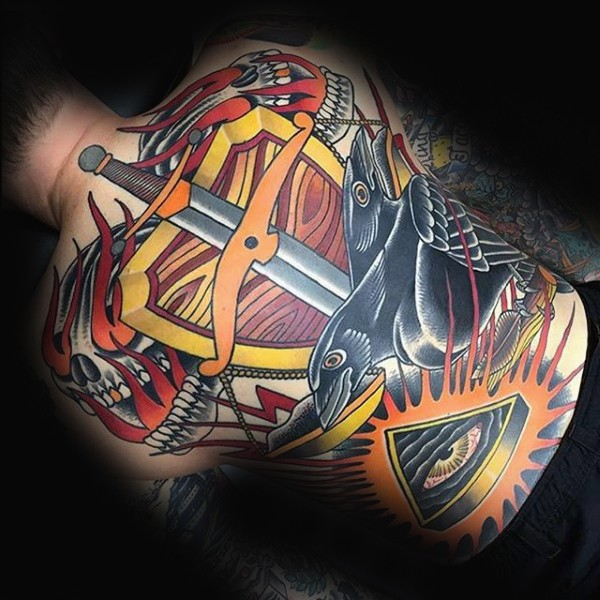 New school style colored tattoo of sword with shield and crow