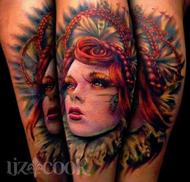 New school style colored tattoo of woman with beautiful hair
