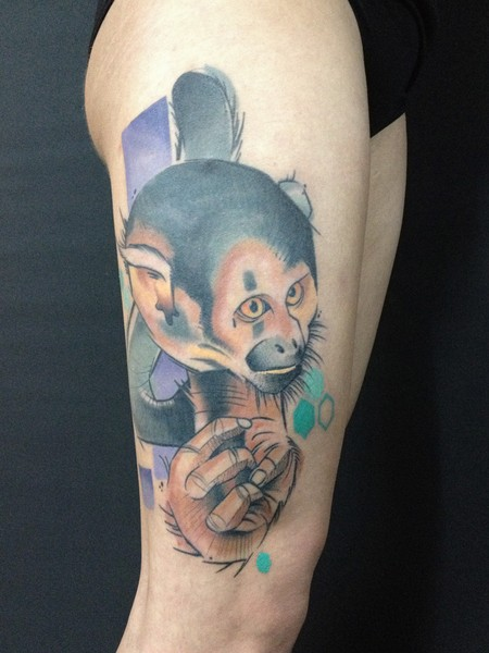 New school style colored thigh tattoo of funny monkey