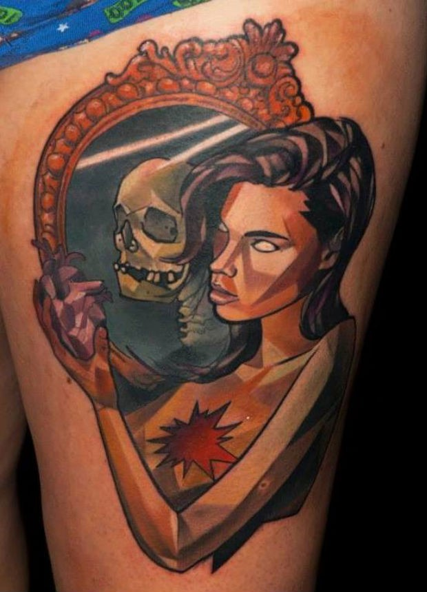 New school style colored thigh tattoo of woman with mirror and skeleton
