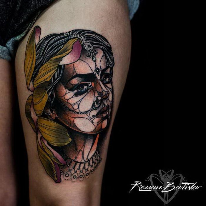 New school style colored thigh tattoo of woman portrait