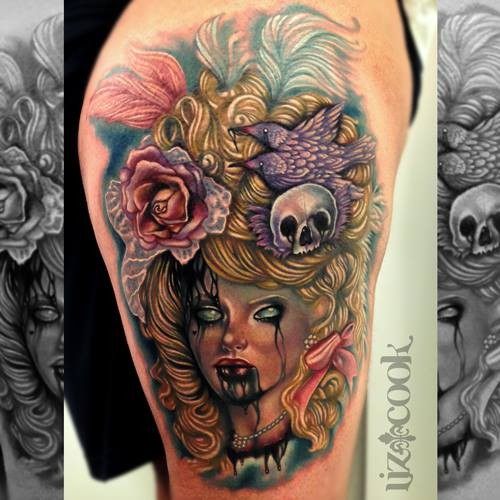New school style colored thigh tattoo of demonic woman with flowers and skull in hair