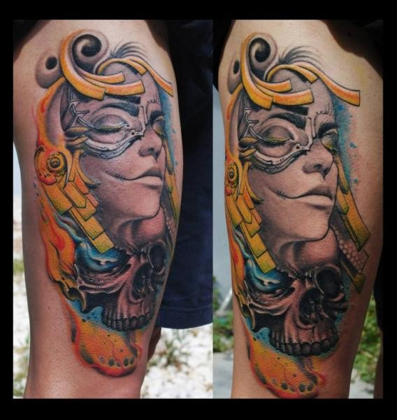 New school style colored thigh tattoo of woman face and skull