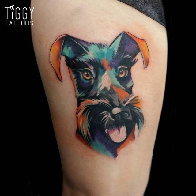 New school style colored thigh tattoo of funny dog