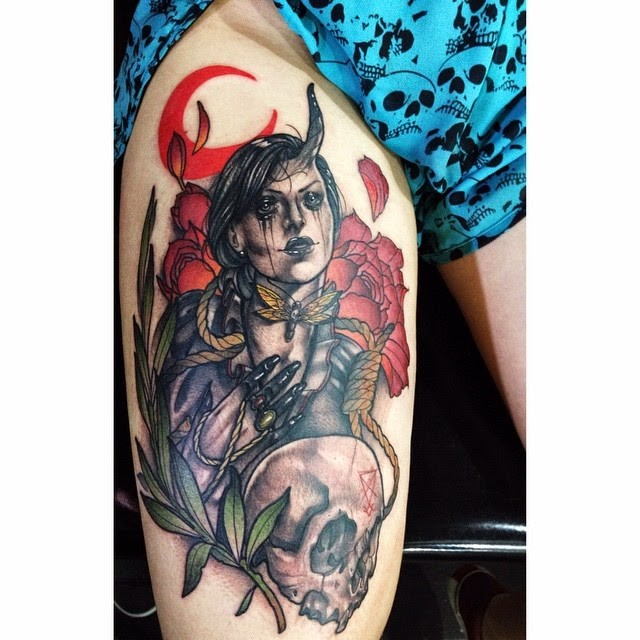 New school style colored thigh tattoo of devils woman with flowers and skull