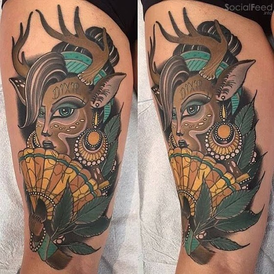 New School Style Colored Thigh Tattoo Of Deer Woman With