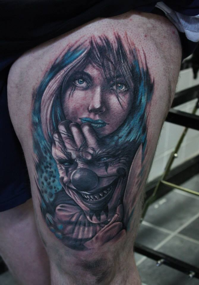 New school style colored thigh tattoo of woman with clown maniac
