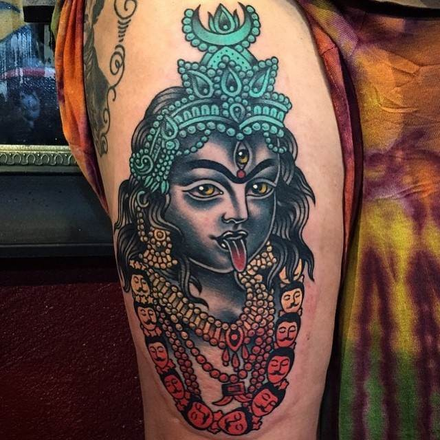 New school style colored thigh tattoo of Hinduism Goddess