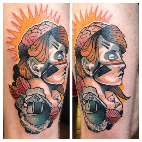 New school style colored thigh tattoo of sleeping woman with rose
