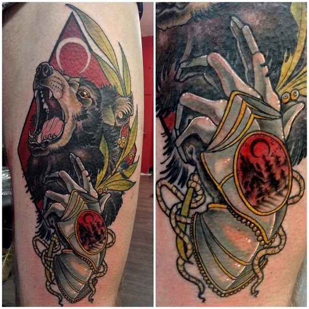 New school style colored thigh tattoo of fantasy bear with armor and jewelry