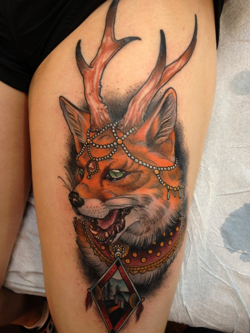 New school style colored thigh tattoo of fantasy fox with horns