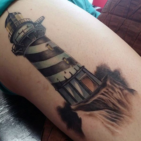 New school style colored thigh tattoo of beautiful looking lighthouse