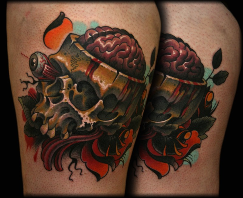 New school style colored thigh tattoo of big skeleton with brains