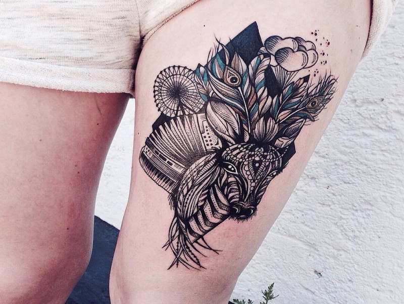 New school style colored thigh tattoo of fantasy deer with feather