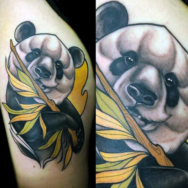New school style colored thigh tattoo of Panda bear